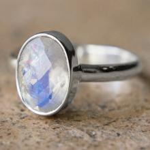 Faceted Oval Rainbow Moonstone Ring - Sterling Silver