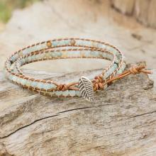 Fair Trade Amazonite and Leather Beaded Wrap Bracelet