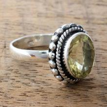 Fair Trade Artisan Jewelry Lemon Quartz and Silver Ring, 'Enamored by Sunshine'