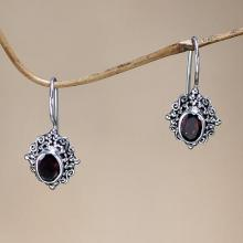 Fair Trade Garnet and Sterling Silver Drop Earrings, 'Balinese Elegance'