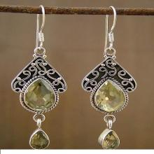 Fair Trade Jewelry Sterling Silver and Quartz Earrings, 'Queen of Jaipur'