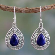 Fair Trade Lapis Lazuli Handcrafted Earrings, 'Timeless Ganges'