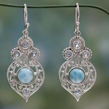 Fair Trade Larimar and Blue Topaz Sterling Silver Earrings, 'Delhi Hope'
