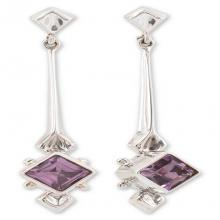 Fair Trade Modern Sterling Silver Amethyst Earrings, 'Taxco Romance'