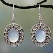 Fair Trade Silver Earrings with Pale Blue Chalcedony, 'Azure Ice'