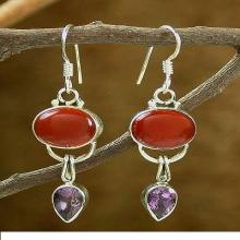 Fair Trade Sterling Silver Carnelian and Amethyst Earrings, 'Swings'