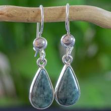 Fair Trade Sterling Silver Dangle Jade Earrings, 'Pale Green Tears'