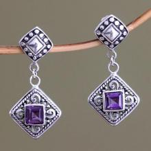 Fair Trade Sterling Silver and Amethyst Dangle Earrings, 'Dream Garden'