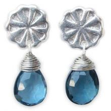 Fair Trade Sterling Silver and Blue Topaz Earrings, 'Chiang Mai Daisy'