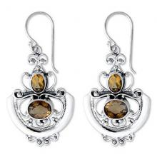 Fair Trade Sterling Silver and Citrine Dangle Earrings, 'Balinese Goddess'