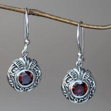 Fair Trade Sterling Silver and Garnet Dangle Earrings, 'Scarlet Ladybug'
