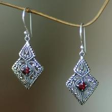Fair Trade Sterling Silver and Garnet Ornate Dangle Earrings, 'Sacred Forest'