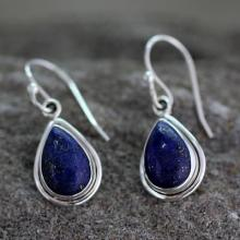 Fair Trade Sterling Silver and Lapis Lazuli Earrings, 'Blue Teardrop