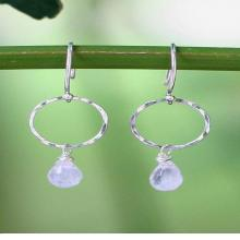 Fair Trade Sterling Silver and Rainbow Moonstone Earrings, 'Moonlit Solo'