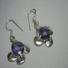 Fancy Amethyst Silver Plated Bezel Set Earrings -Gemstone Earrings