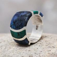 Fine Silver Band Chrysocolla Sodalite Ring from Peru