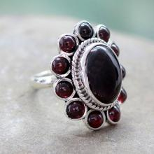 Floral Jewelry Sterling Silver and Garnet Ring