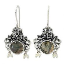 Floral Labradorite Sterling Silver Dangle Earrings, 'Royal Heritage'