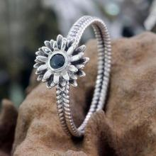 Floral Sterling Silver and Sapphire Ring