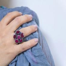 Flower Ring - Ruby surronded with Garnets - 925 silver ring