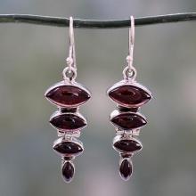 Garnet Cabochon Dangle Earrings Set in Sterling Silver, 'Romantic Quartet'