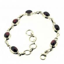 Garnet Cut Stone Silver bracelets