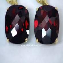 Garnet Cut Stone Silver earrings