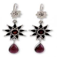 Garnet Earrings Artisan Crafted Silver Jewelry, 'Star of Love'