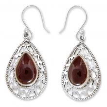 Garnet Earrings in Sterling Silver from India Jewelry , 'Vivid Scarlet'