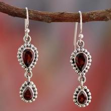 Garnet Earrings in Sterling Silver from India Jewelry, ''Halo of Beauty''