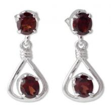 Garnet Earrings in Sterling Silver from India Jewelry, 'Passionate Beauty'