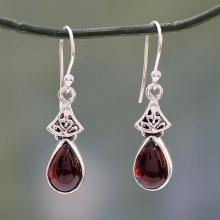 Garnet Earrings in Sterling Silver from India, 'Crimson Morn'