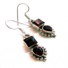 Garnet Earrings,Silver plated Jewelry,Dangle,Gemstone Earrings, January birthstone, small earrings by Taneesi