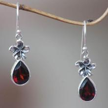 Garnet Floral Earrings from Indonesia, 'Plumeria Dew'