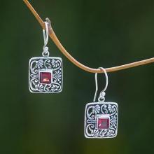 Garnet Handcrafted Balinese Sterling Silver Earrings, 'Red Lotus Pond'