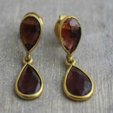 Garnet Petite Drop Earrings - Gifts for her - Wedding Jewellery - Gemstone Earrings - Gold Earrings