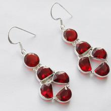 Garnet Quartz Gemstone Earrings Handmade Jewelry With 925 Pure Silver Metals