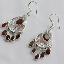 Garnet Quartz Gemstone Earrings Handmade Jewelry With 925 Pure Silver