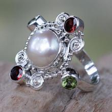 Garnet Ring with Peridot