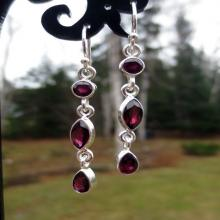 Garnet Silver Earrings, Dark Red Garnet Gemstone Earrings, Long, Drop Gemstone Earrings , Garnet Jewelry