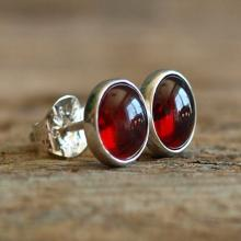 Garnet Sterling Silver Stud Earrings - 6mm Red Garnet Gemstone Earrings - Garnet Silver Posts - Garnet Silver Studs