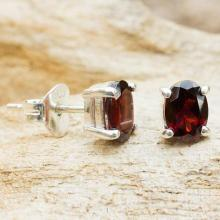 Garnet Stud Earrings Sterling Silver Thai Jewelry, 'Sparkling'