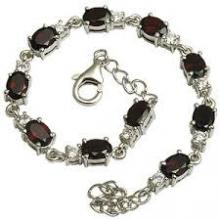 Garnet Studded Sterling Silver Bracelet
