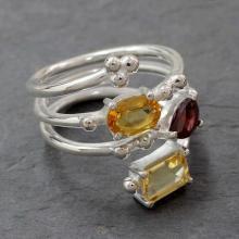 Garnet Topaz in Sterling Silver Ring