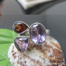 Garnet and Amethyst Ring , Sterling Silver Ring , Gemstone Ring