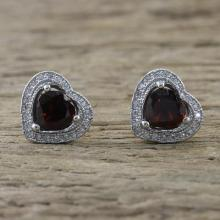 Garnet and Cubic Zirconia Heart Stud Earrings