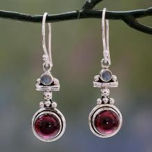 Garnet and Rainbow Moonstone Earrings Set in 925 Silver, 'Misty Moon'