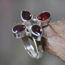 Garnet and Silver Cocktail Ring