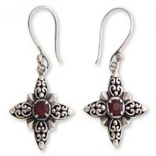 Garnet and Silver Dangle Earrings, 'Celuk Star'