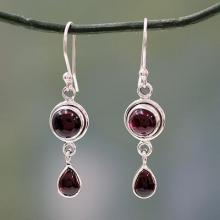 Garnet and Sterling Silver Earrings Handmade in India, 'Crimson Glow'